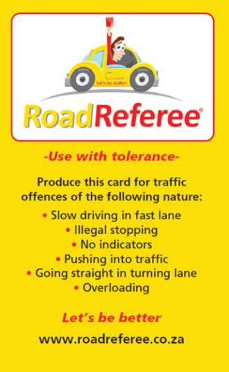 road ref card yellow